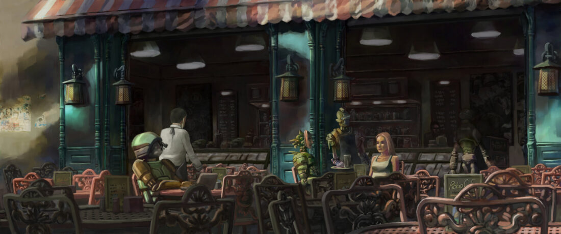 An illustration of a robot cafe