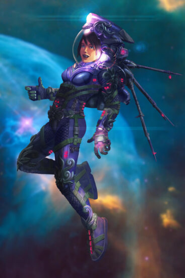 An illustration of a space girl