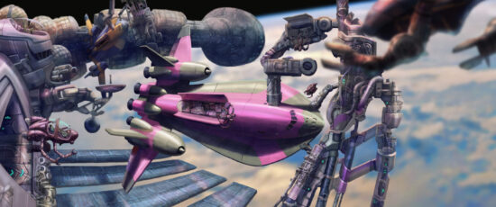 An illustration of a futuristic space station