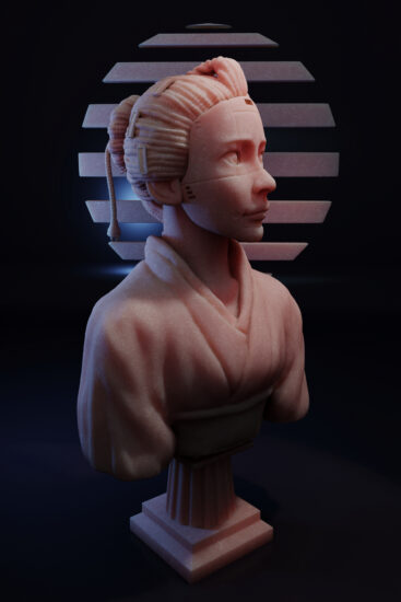 A sculpt of a robotic Japanese girl