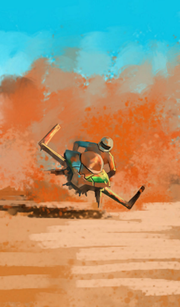 hoverbike racing through sand