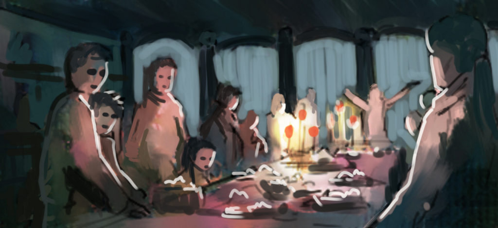 a painting of a party with plenty of food