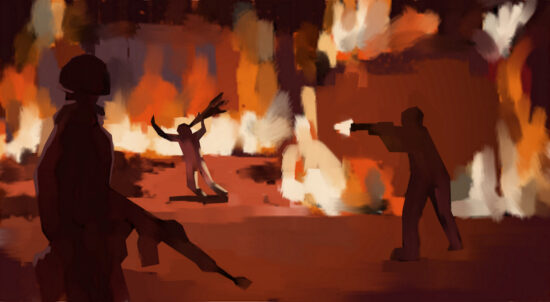 a painting of a group of soldiers committing genocide