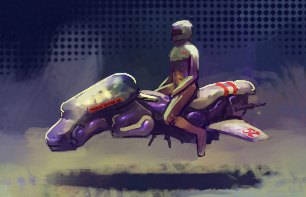 painting of a hoverbike